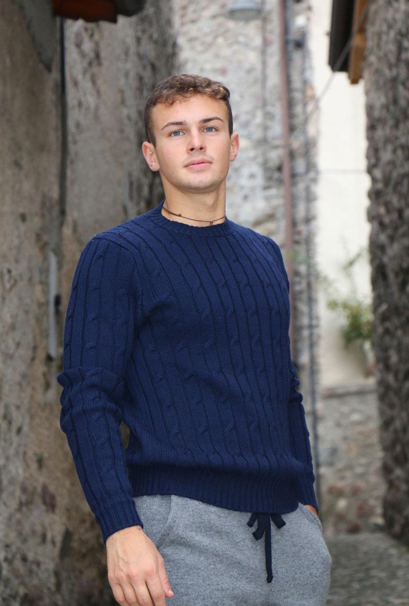 Girocollo trecce 4 fili 100% lana Zegna Baruffa