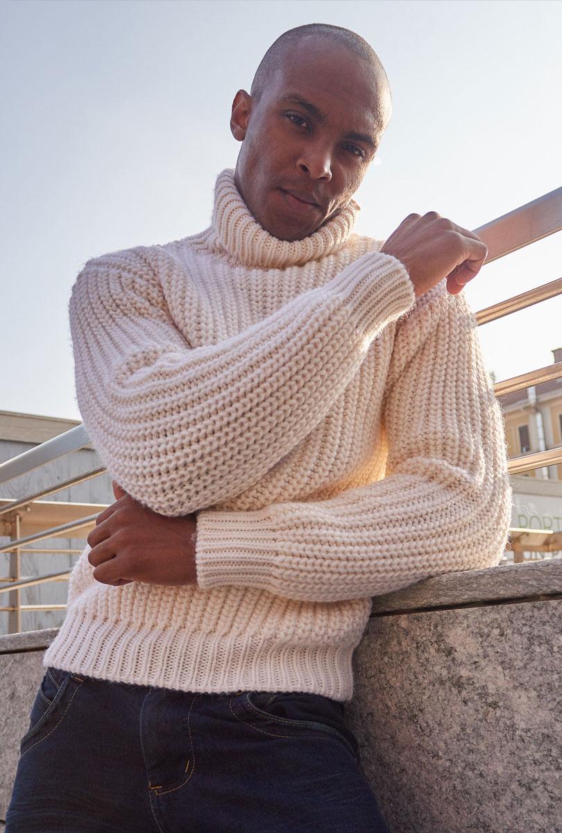 Dolcevita in maglia perlata 100% lana Zegna Baruffa